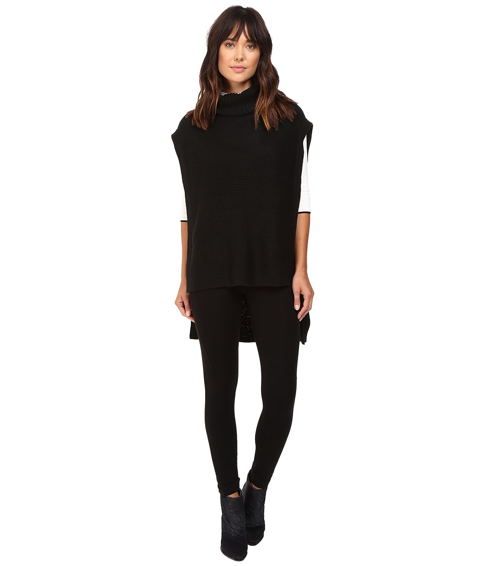 BCBGeneration - Turtleneck Purl Poncho (Black) Women's Clothing