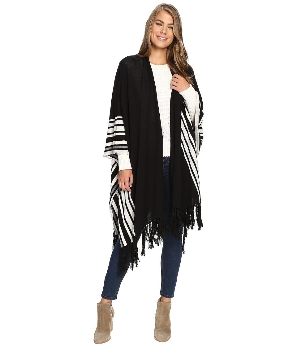 BCBGeneration - Stripe Cozy Oversized Ruana (Black) Women's Clothing