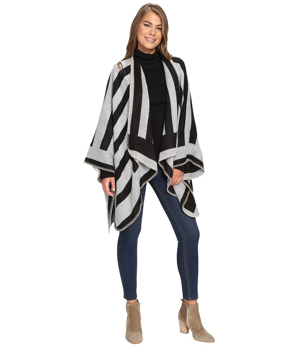 BCBGeneration - Sports Stripe Ruana (Black) Women's Clothing