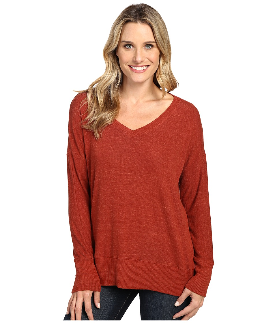 Allen Allen - Long Sleeve Sweater Vee (Paprika) Women's Sweater