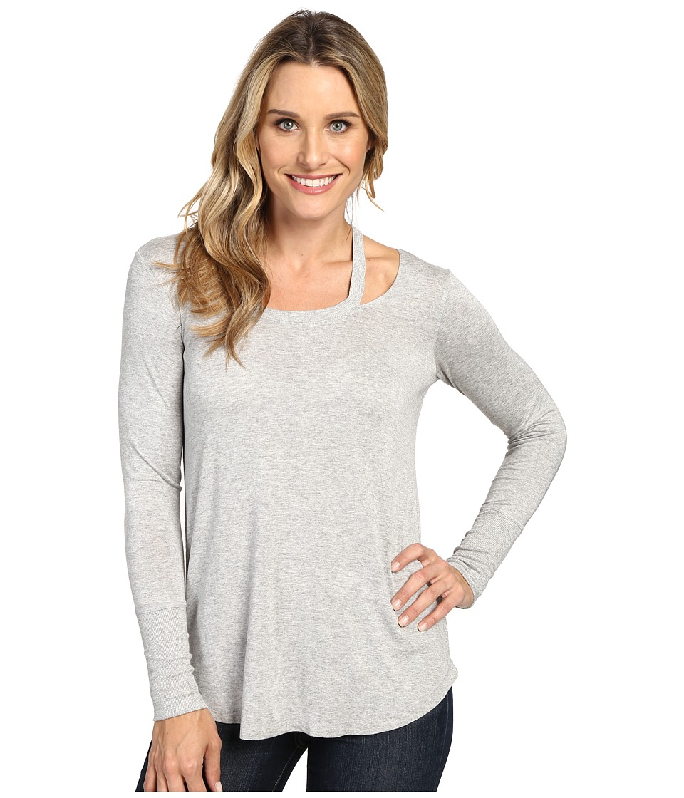 Allen Allen - Long Sleeve Cut Shoulder (Heather Grey) Women's Clothing