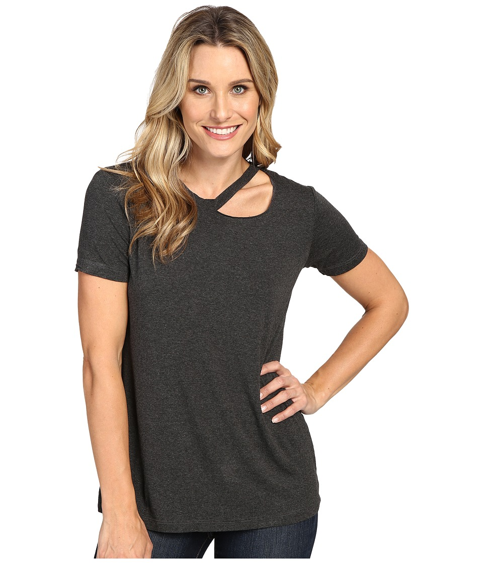 Allen Allen - Short Sleeve Cut Shoulder (Charcoal) Women's Clothing