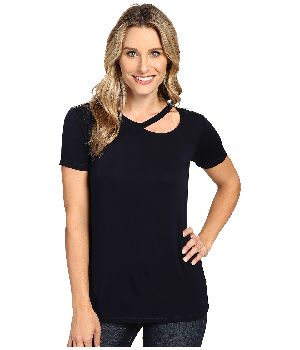 Allen Allen - Short Sleeve Cut Shoulder (Navy) Women's Clothing