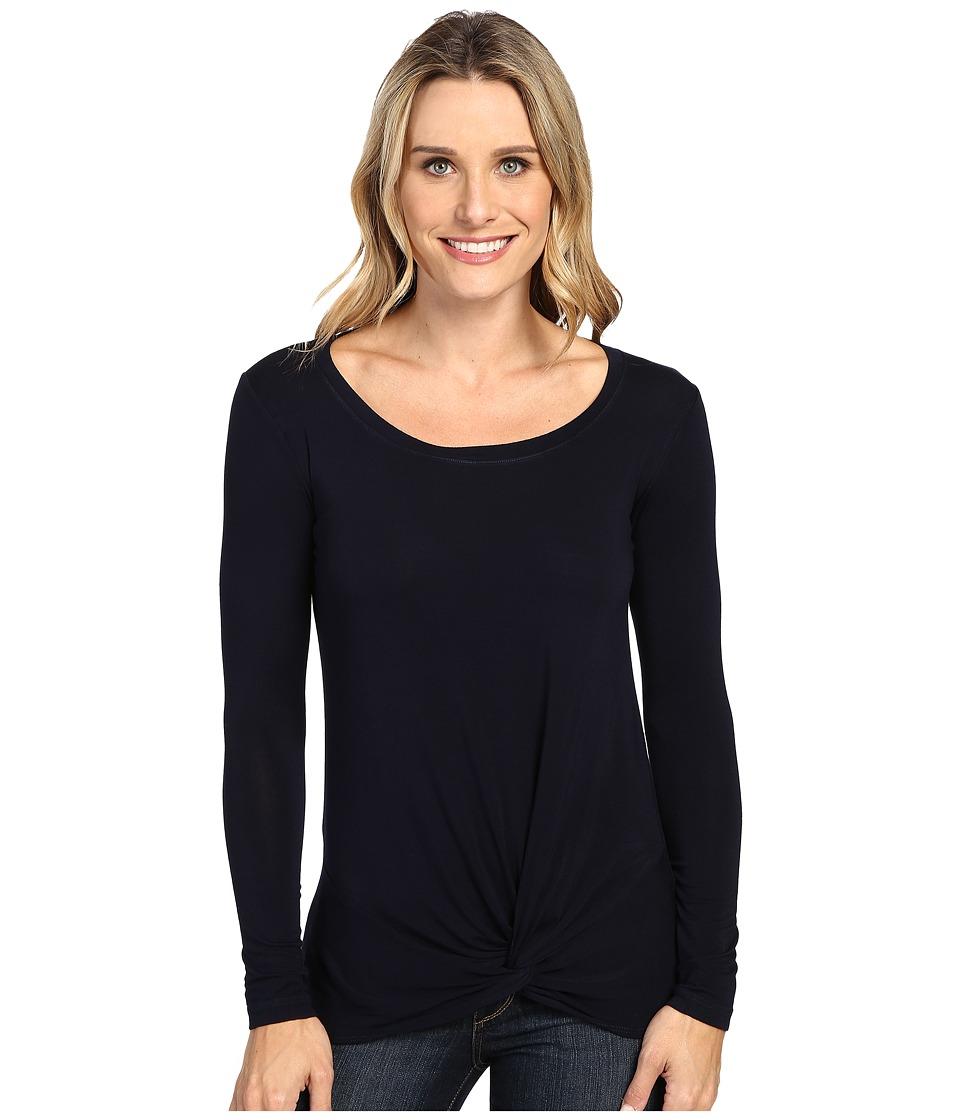 Allen Allen - Long Sleeve Twist Hem (Navy) Women's Clothing