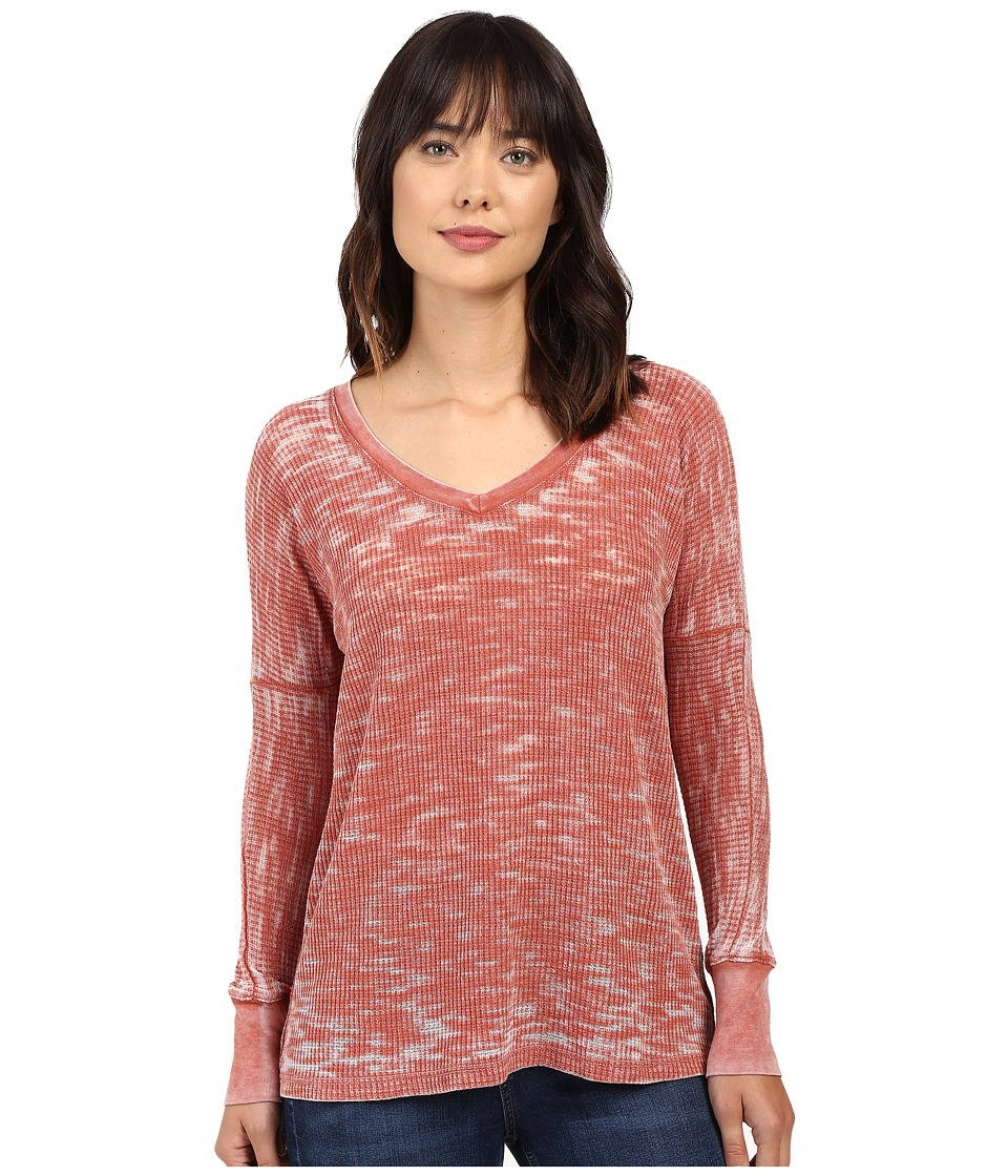 Allen Allen - High-Low Vee (Paprika) Women's Clothing