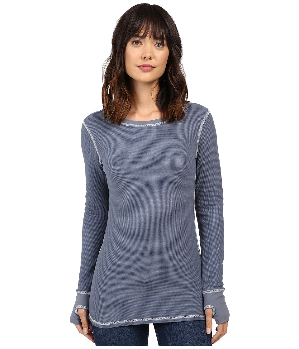 Allen Allen - L/S Thumbhole Tee Thermal Crew (Blue Haze) Women's Long Sleeve Pullover