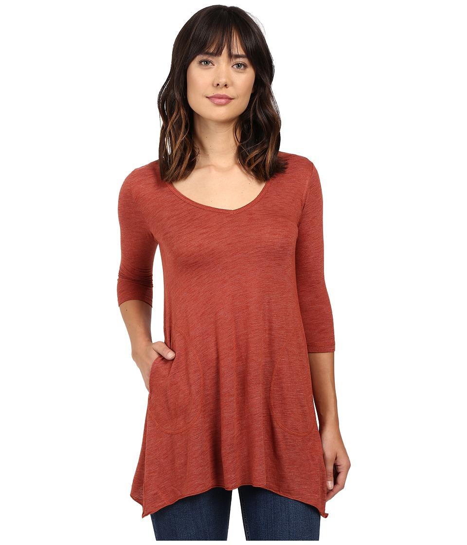 Allen Allen - Slub Angled 3/4 Tunic (Paprika) Women's T Shirt