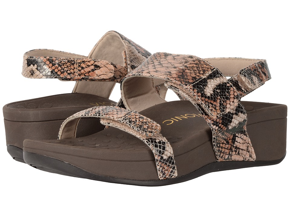 VIONIC - Bolinas (Tan/Taupe Snake) Women's Sandals