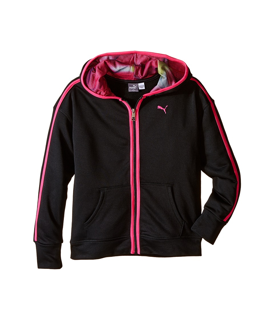 Puma Kids - Hoodie w/ Contrast Taping (Big Kids) (PUMA Black) Girl's Sweatshirt