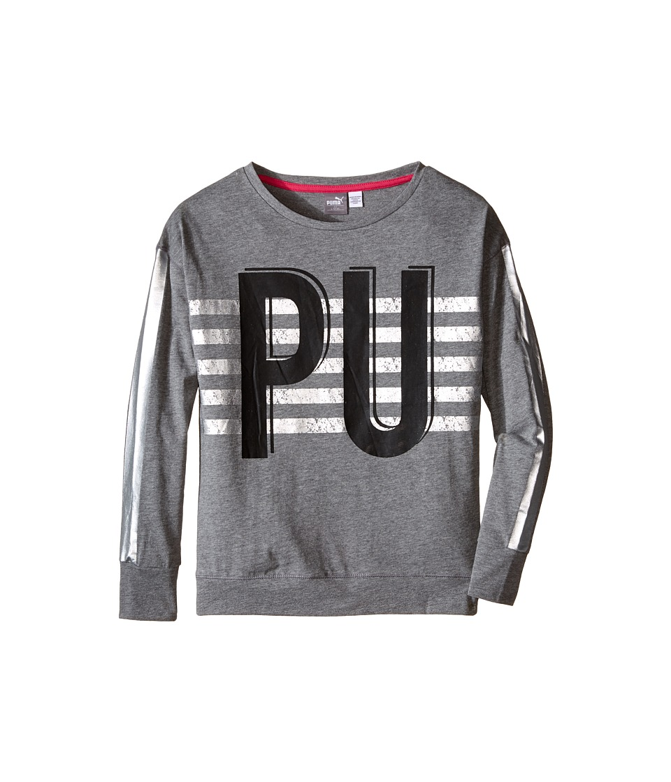 Puma Kids - Drop Shoulder Top w/ Box Style (Big Kids) (Medium Heather Grey) Girl's Clothing