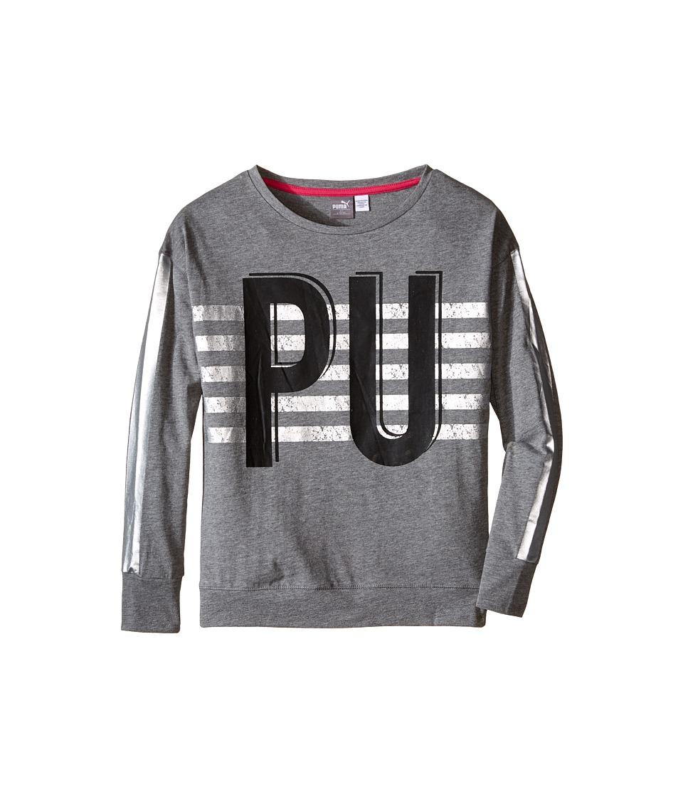 Puma Kids - Drop Shoulder Top w/ Box Style (Big Kids) (Medium Heather Grey) Girl's Clothing