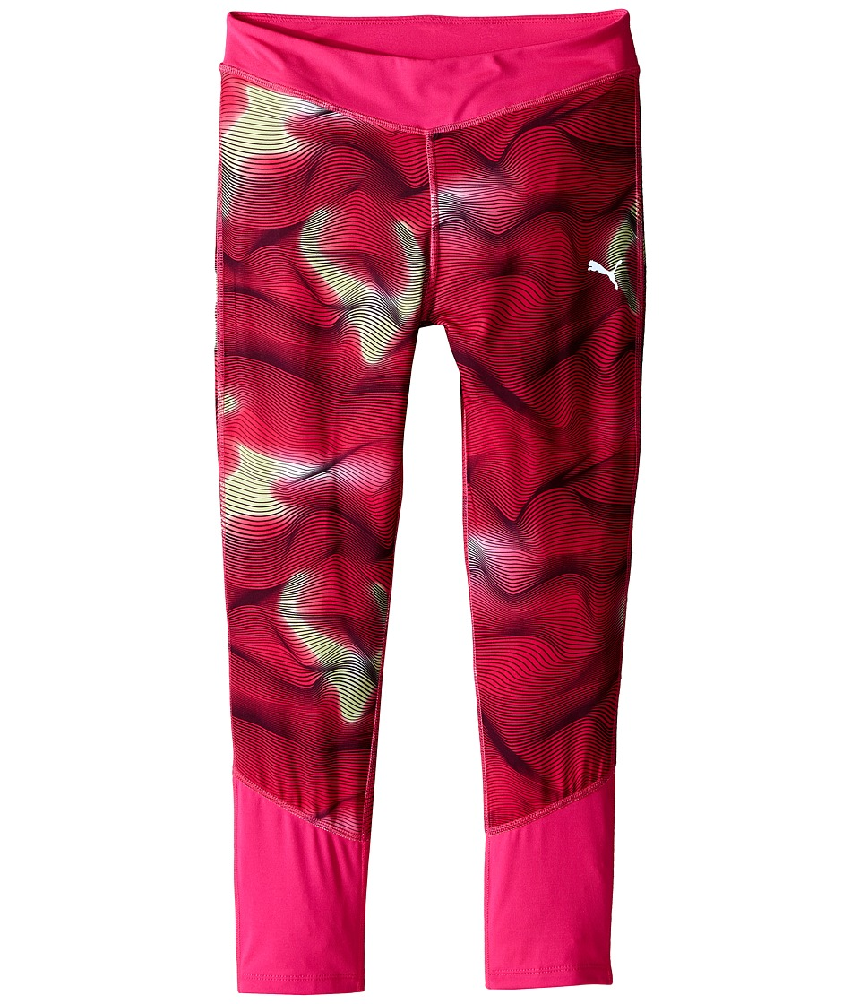 Puma Kids - Cropped Tights w/ Contrast Piecing (Big Kids) (Pink Glow) Girl's Casual Pants