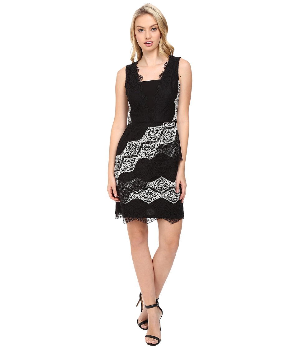 Maggy London - Diamond Stripe Lace Fit and Flare Dress (Black/White) Women's Dress