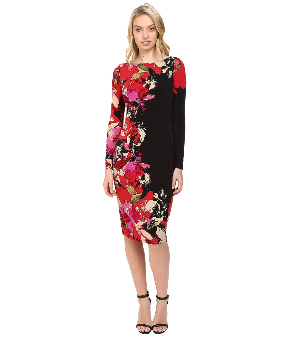 Maggy London - Side Stem Flower Print Jersey Sheath Dress with Sleeve (Black/Red) Women's Dress