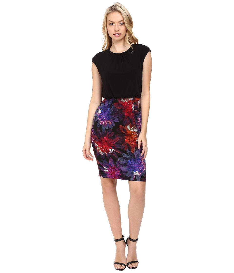 Maggy London - Flower Spray Scuba Sheath Dress (Black/Multi) Women's Dress