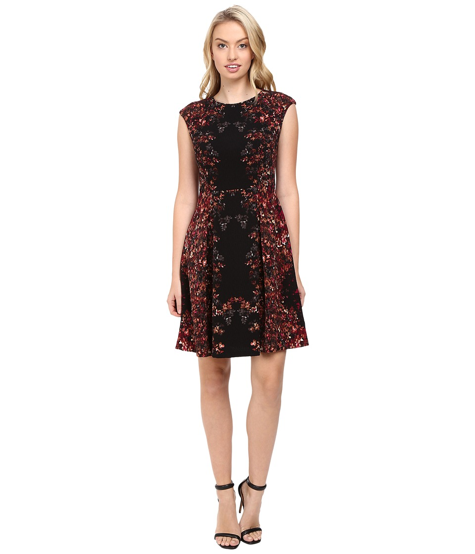 Maggy London - Shadow Flower Pebble Texture Fit and Flare Dress (Black/Cherry) Women's Dress