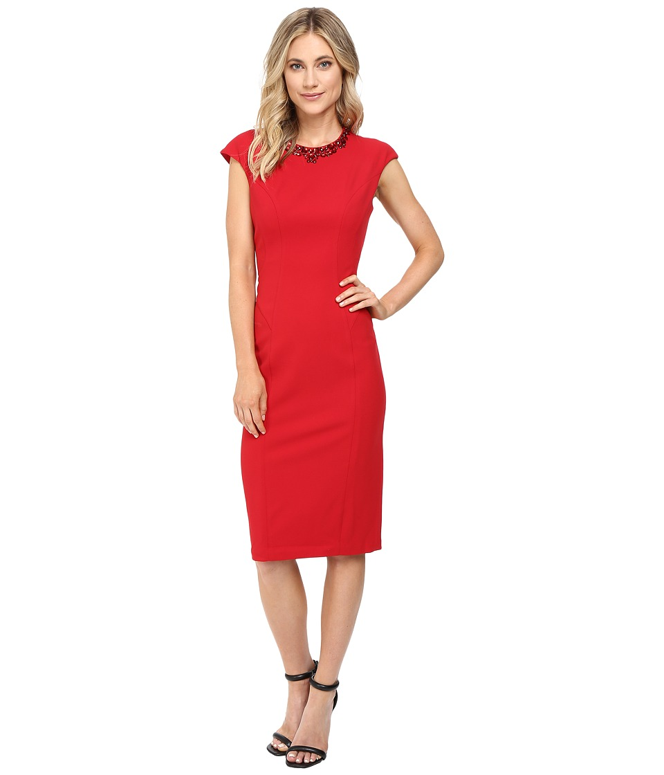 Maggy London - Crepe Scuba Sheath Dress with Embellished Neck (New Red) Women's Dress
