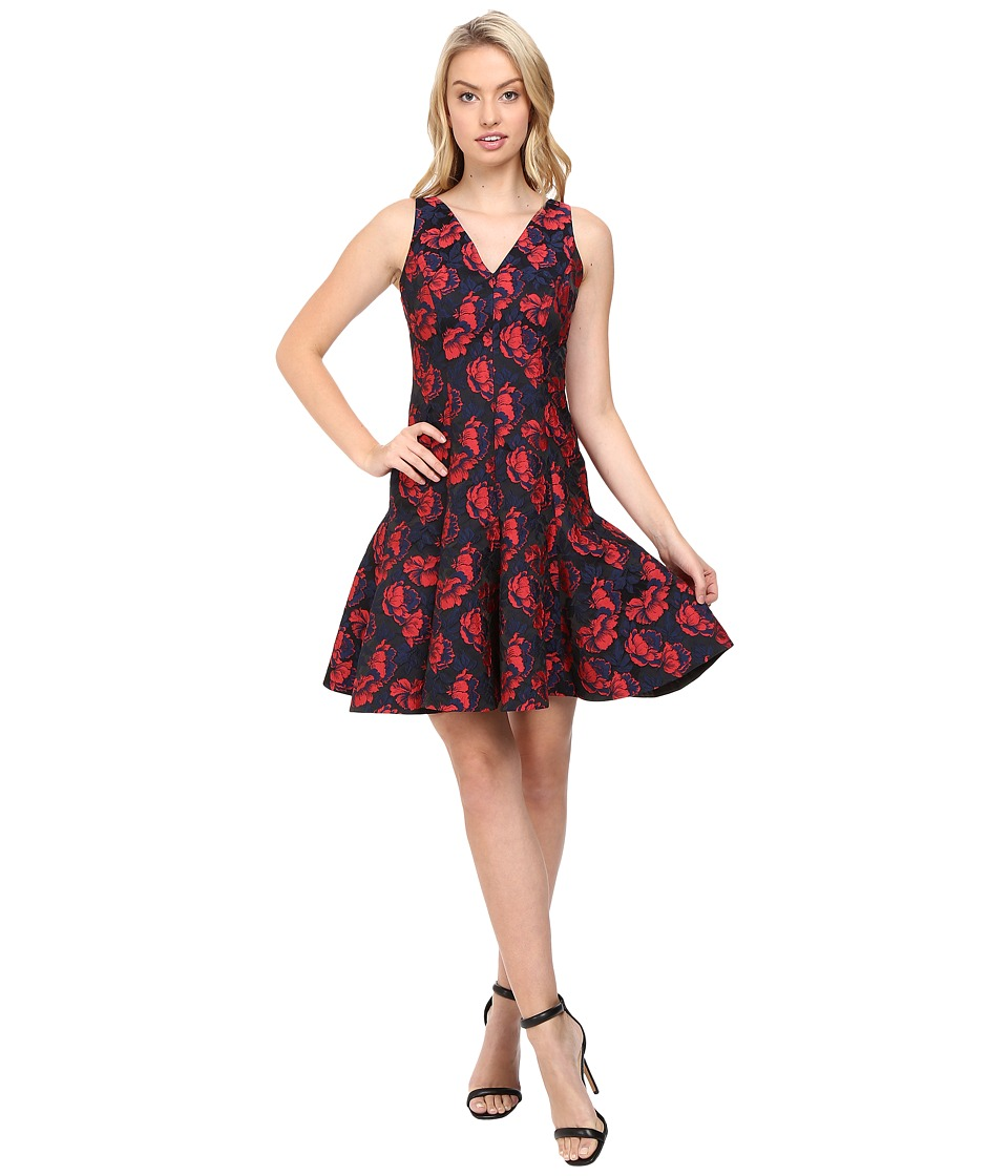 Maggy London - Shadow Floral Jacquard Deep V-Neck Fit and Flare Dress (Red/Navy) Women's Dress