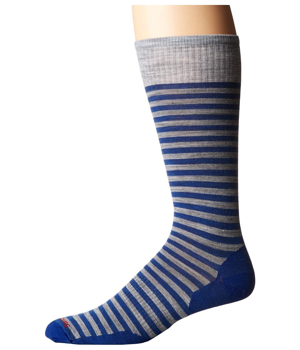 Smartwool - Stria Crew (Dark Blue Heather) Men's Crew Cut Socks Shoes