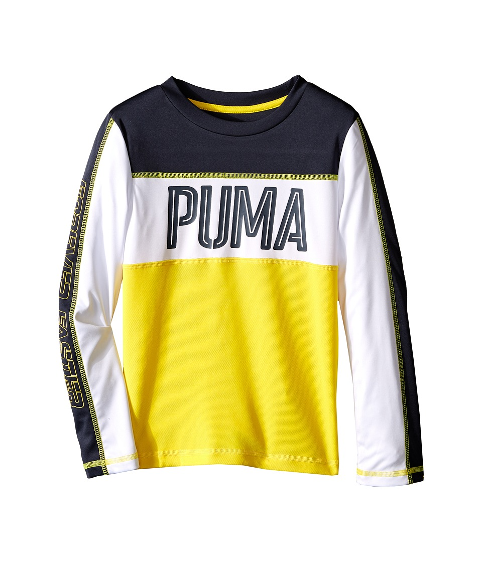 Puma Kids - Block Long Sleeve Top (Little Kids) (Cyber Yellow) Boy's Long Sleeve Pullover