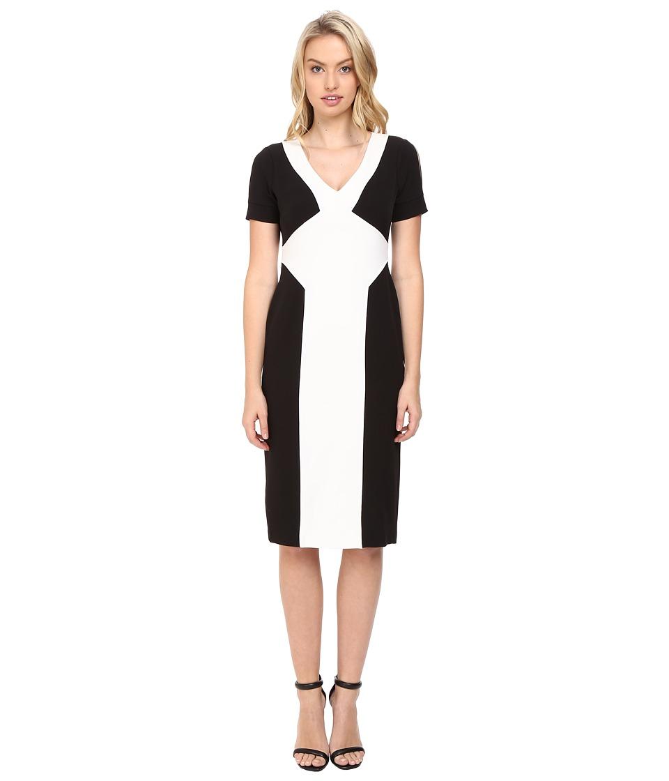 Maggy London Crepe Scuba Colorblock Sheath Dress (Black/Creme) Women