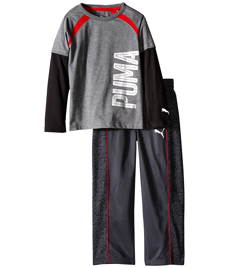 Puma Kids - Two-Piece Printed Pants Set (Little Kids) (Coal) Boy's Active Sets