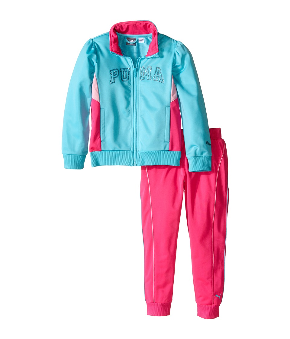 Puma Kids - Track Set w/ Piecing (Little Kids) (Faster Blue) Girl's Active Sets