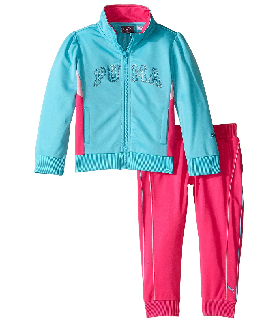 Puma Kids - Track Set w/ Piecing (Toddler) (Faster Blue) Girl's Active Sets