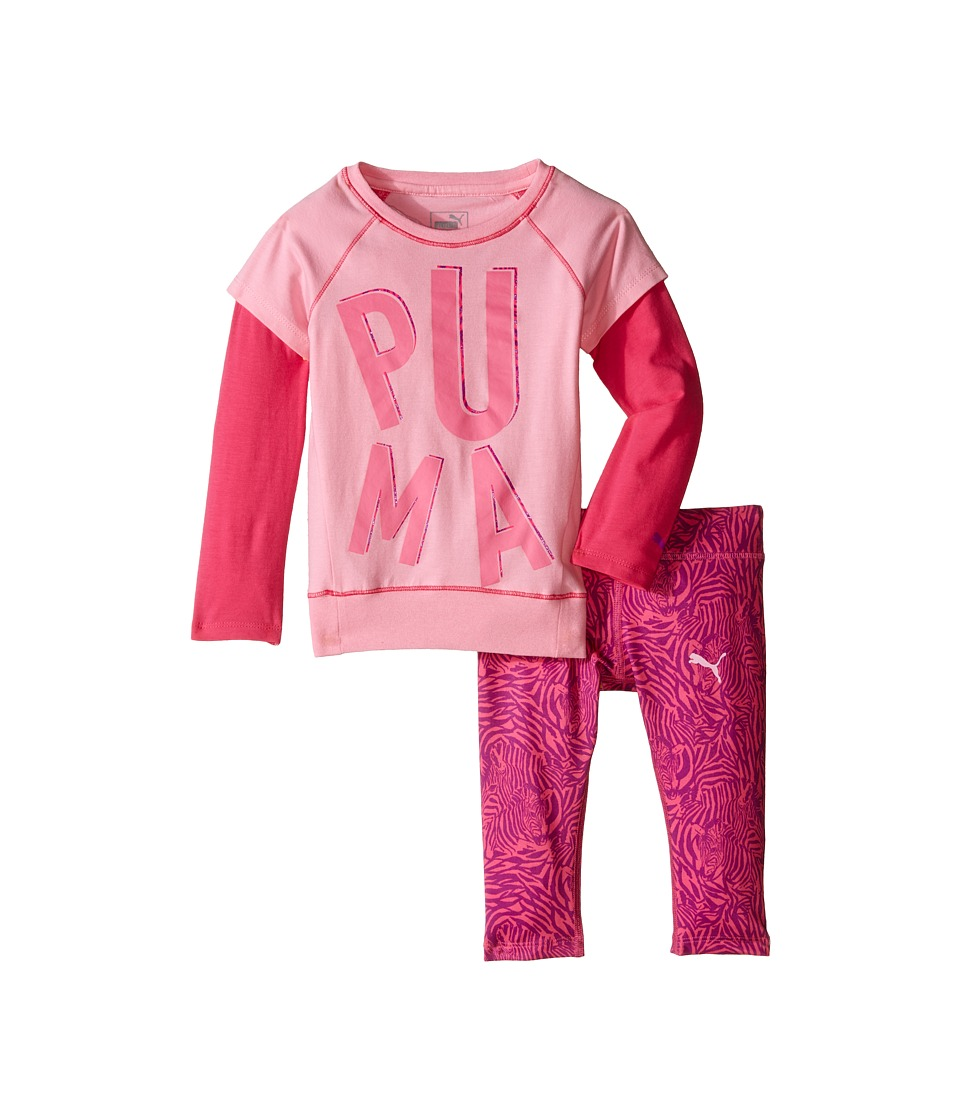 Puma Kids - Two-Piece Zebra Print Set (Toddler) (Pink Glow) Girl's Active Sets