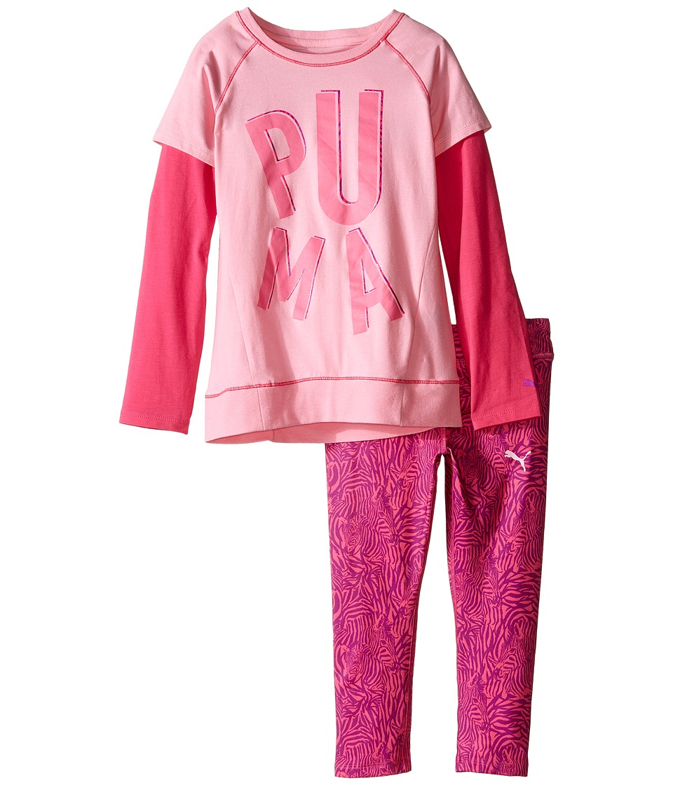 Puma Kids - Two-Piece Zebra Print Set (Little Kids) (Pink Glow) Girl's Active Sets