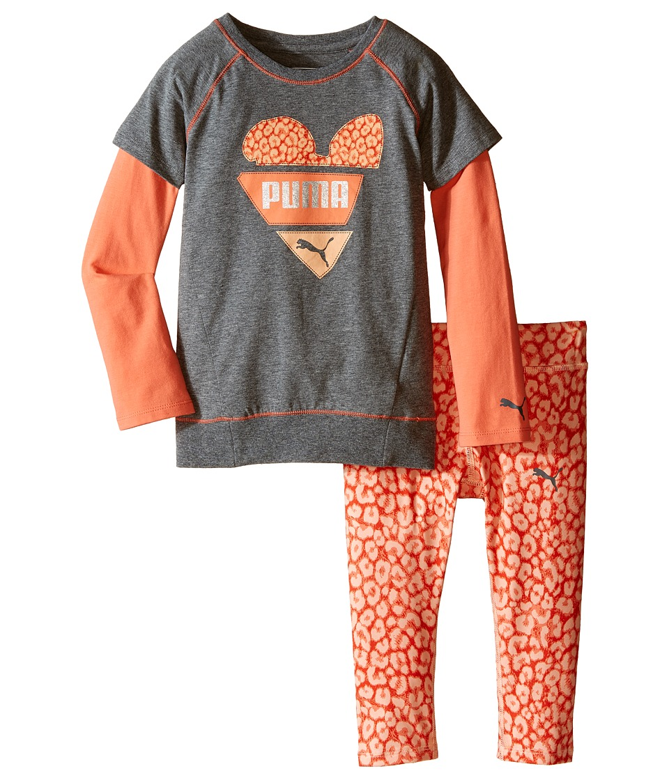 Puma Kids - Two-Piece Animal Print Set (Little Kids) (Medium Heather Grey) Girl's Active Sets