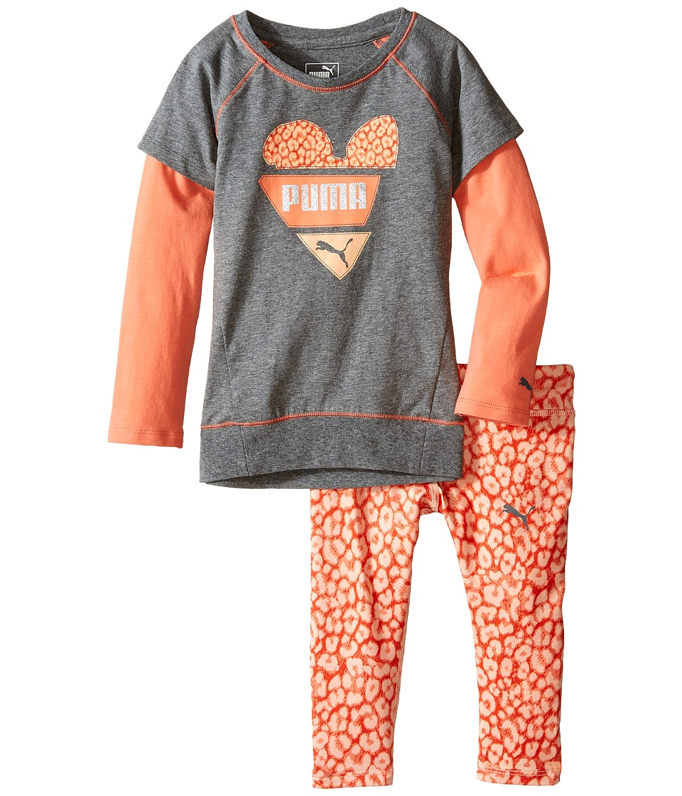 Puma Kids - Two-Piece Animal Print Set (Toddler) (Medium Heather Grey) Girl's Active Sets