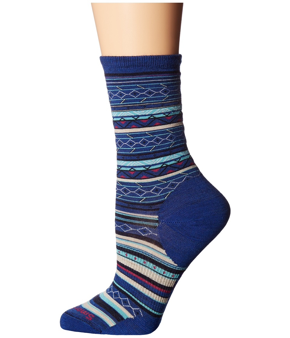 Smartwool - Ethno Graphic Crew (Dark Blue Heather) Women's Crew Cut Socks Shoes