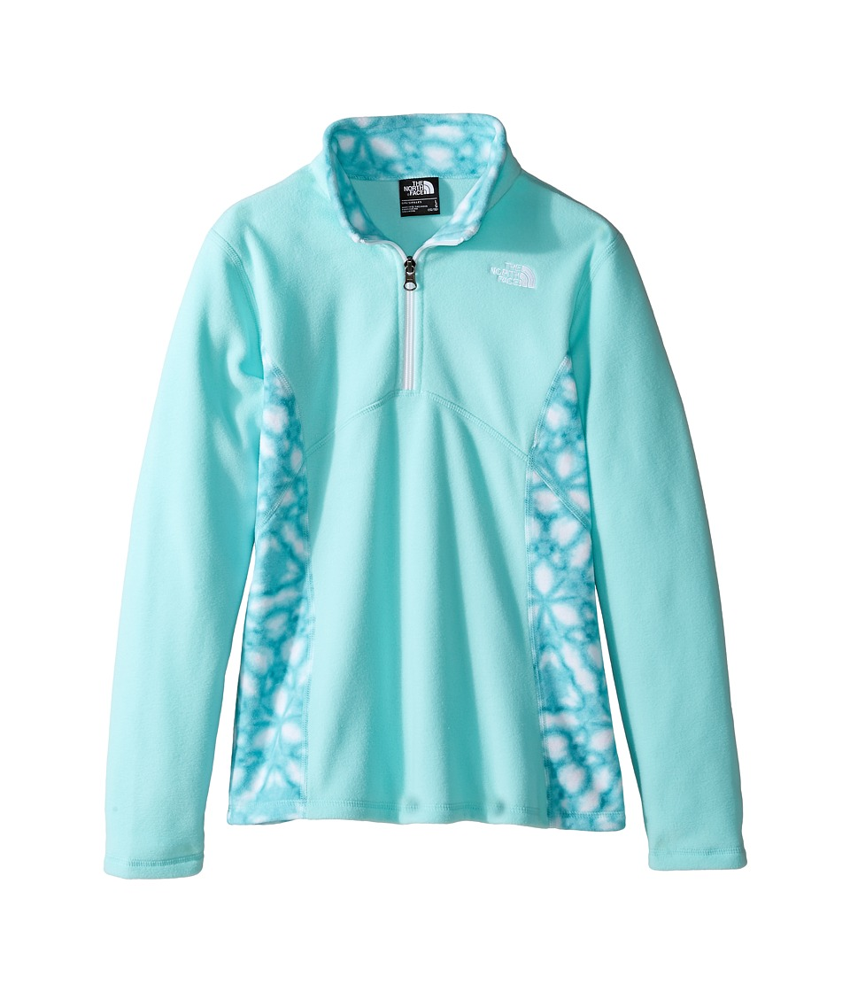 The North Face Kids - Glacier 1/4 Zip (Little Kids/Big Kids) (Breeze Blue/Breeze Blue Shibori Print (Prior Season)) Girl's Long Sleeve Pullover