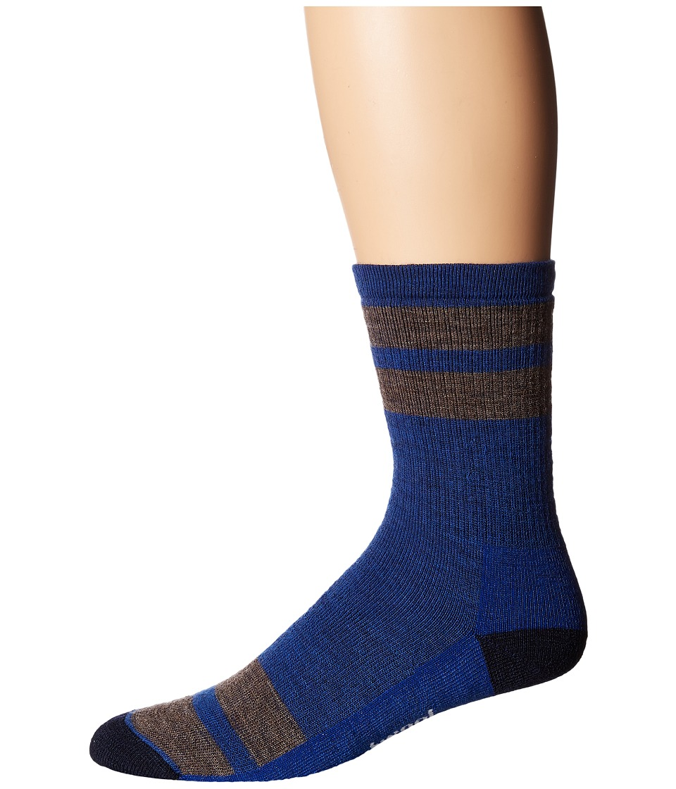 Smartwool - Striped Hike Medium Crew (Dark Blue) Men's Crew Cut Socks Shoes