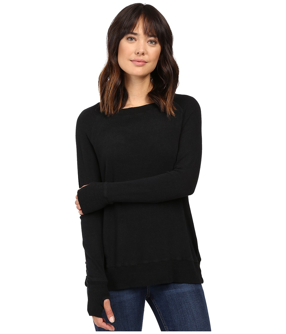 Allen Allen - Long Sleeve Crew w/ Crossover Back (Black) Women's Clothing