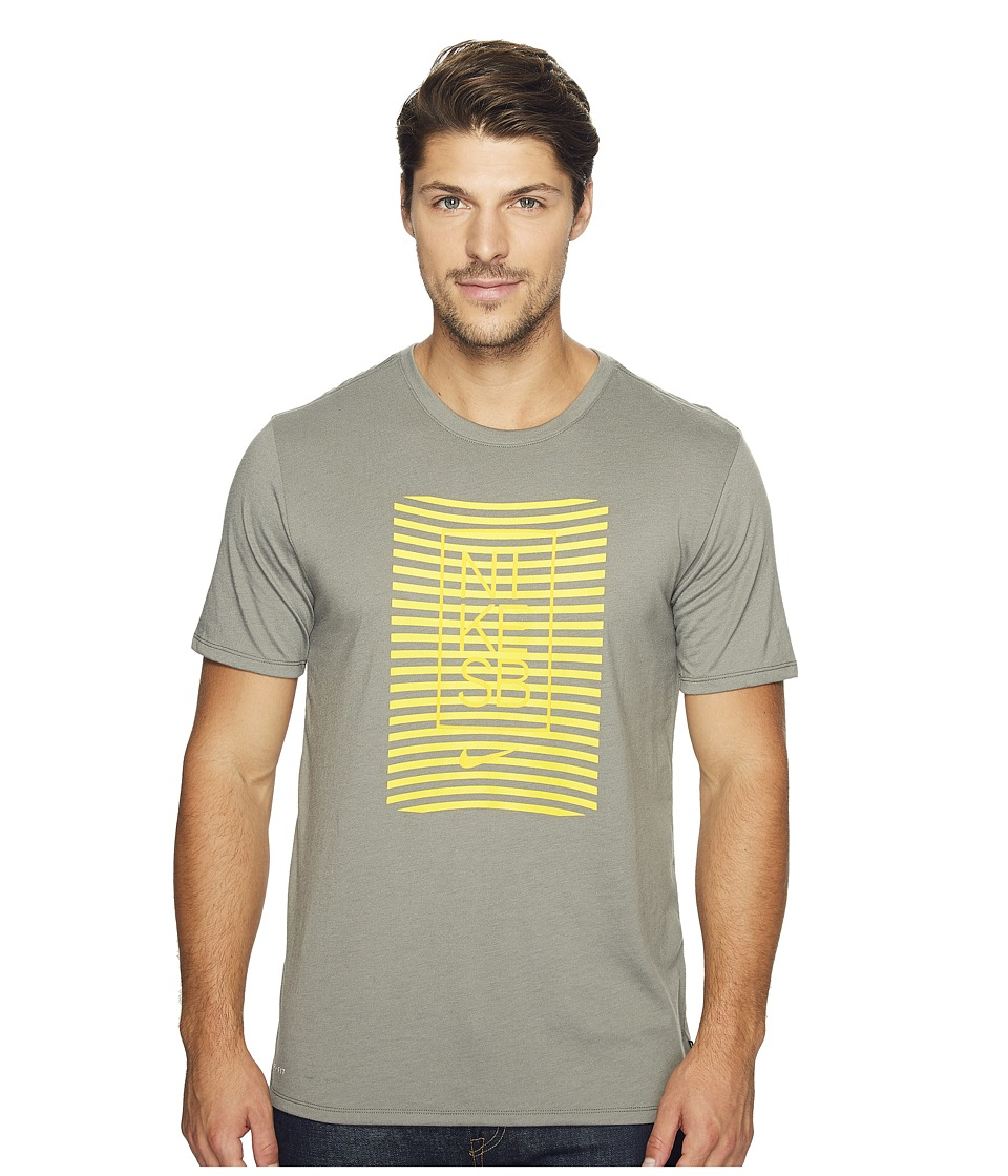 Nike SB - Driblend Striped Dry Tee (Tumbled Grey/Tour Yellow) Men's T Shirt