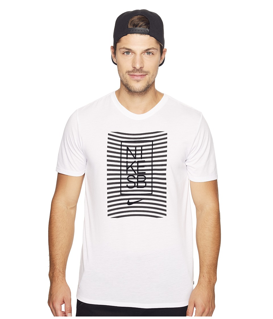 Nike SB - Driblend Striped Dry Tee (White/Black) Men's T Shirt