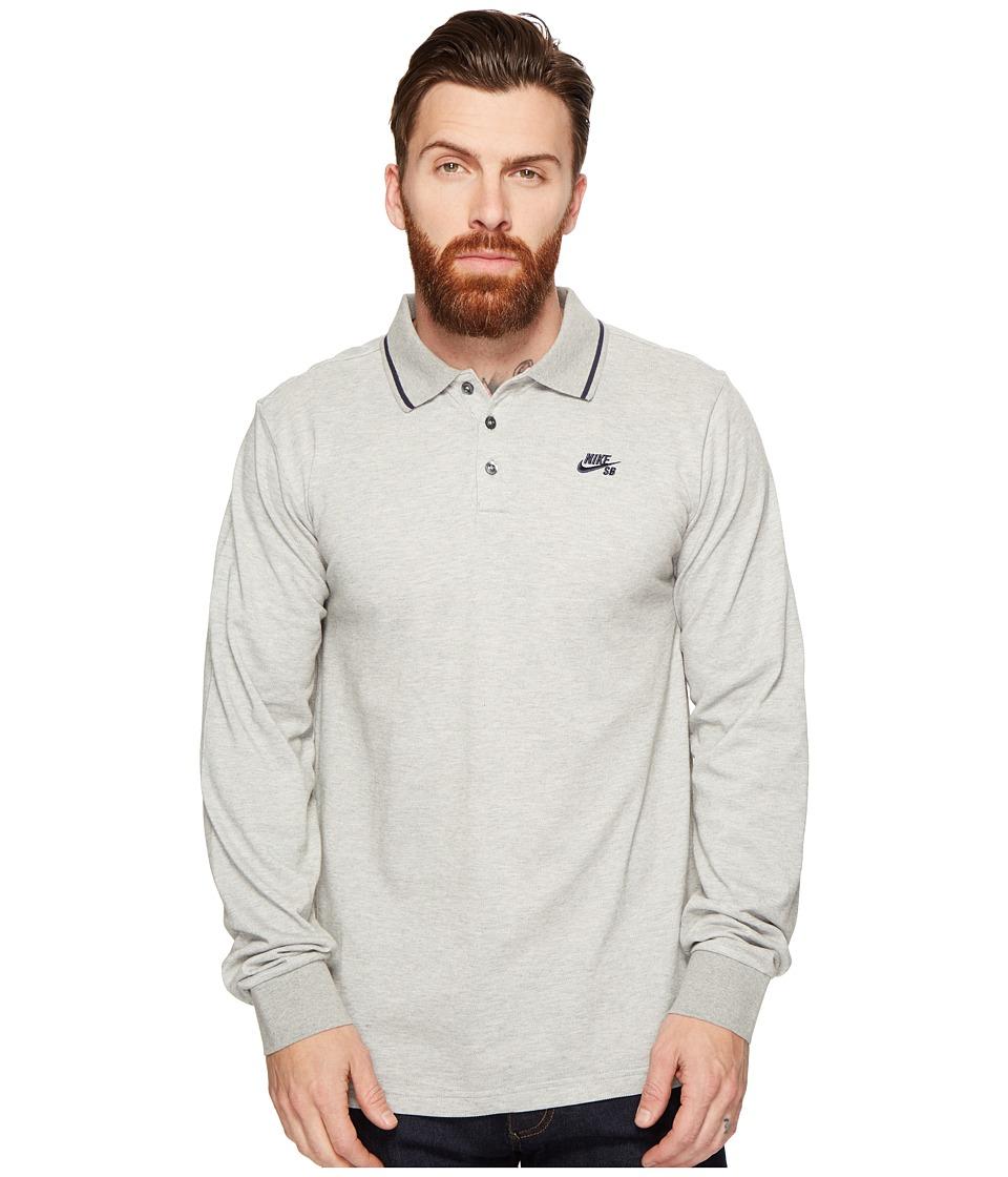 Nike SB - SB Dri-FIT Pique Long Sleeve Polo (Dark Grey Heather/Obsidian) Men's Long Sleeve Pullover