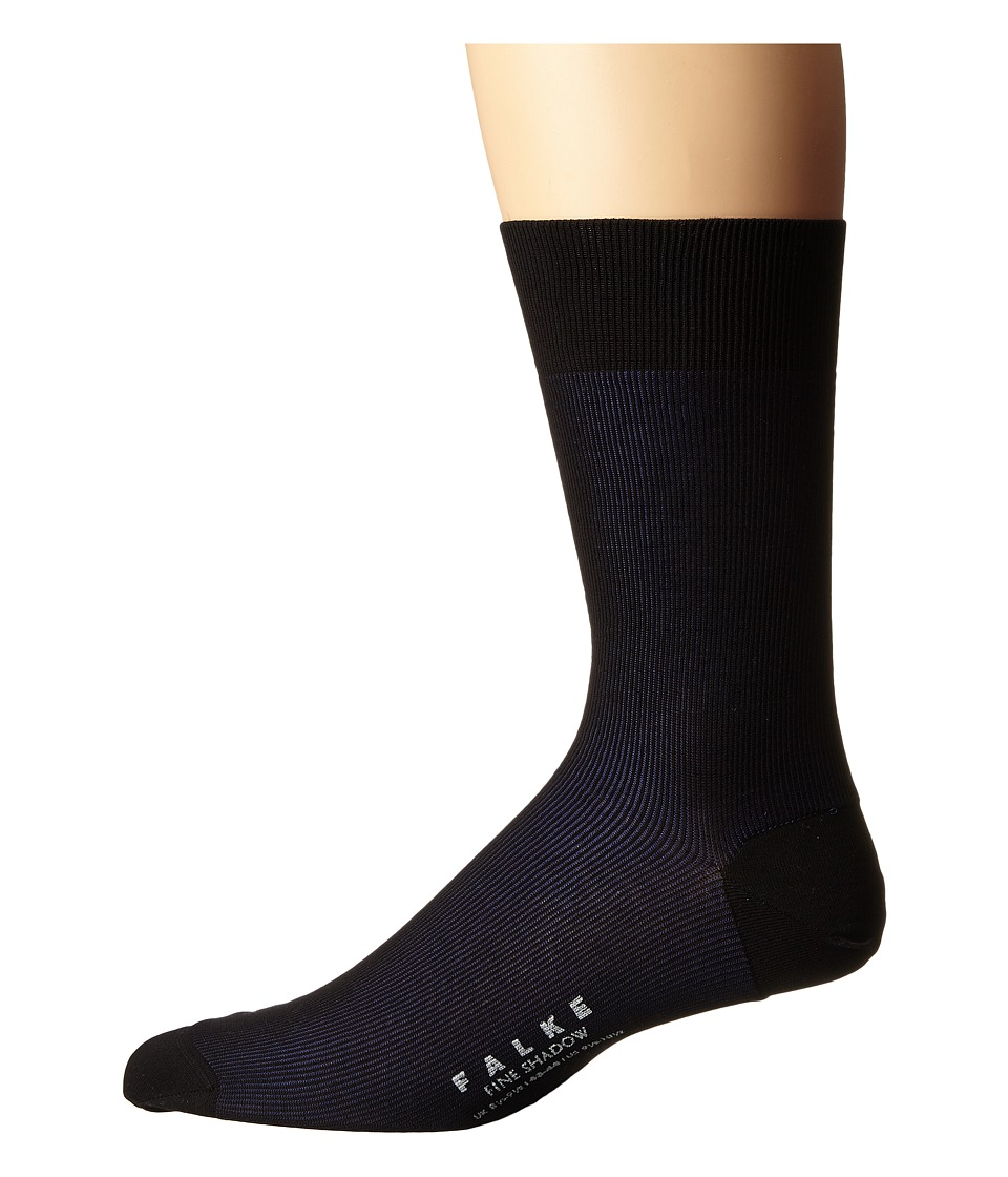 Falke - Fine Shadow Sock (Black/Grey) Men's Crew Cut Socks Shoes