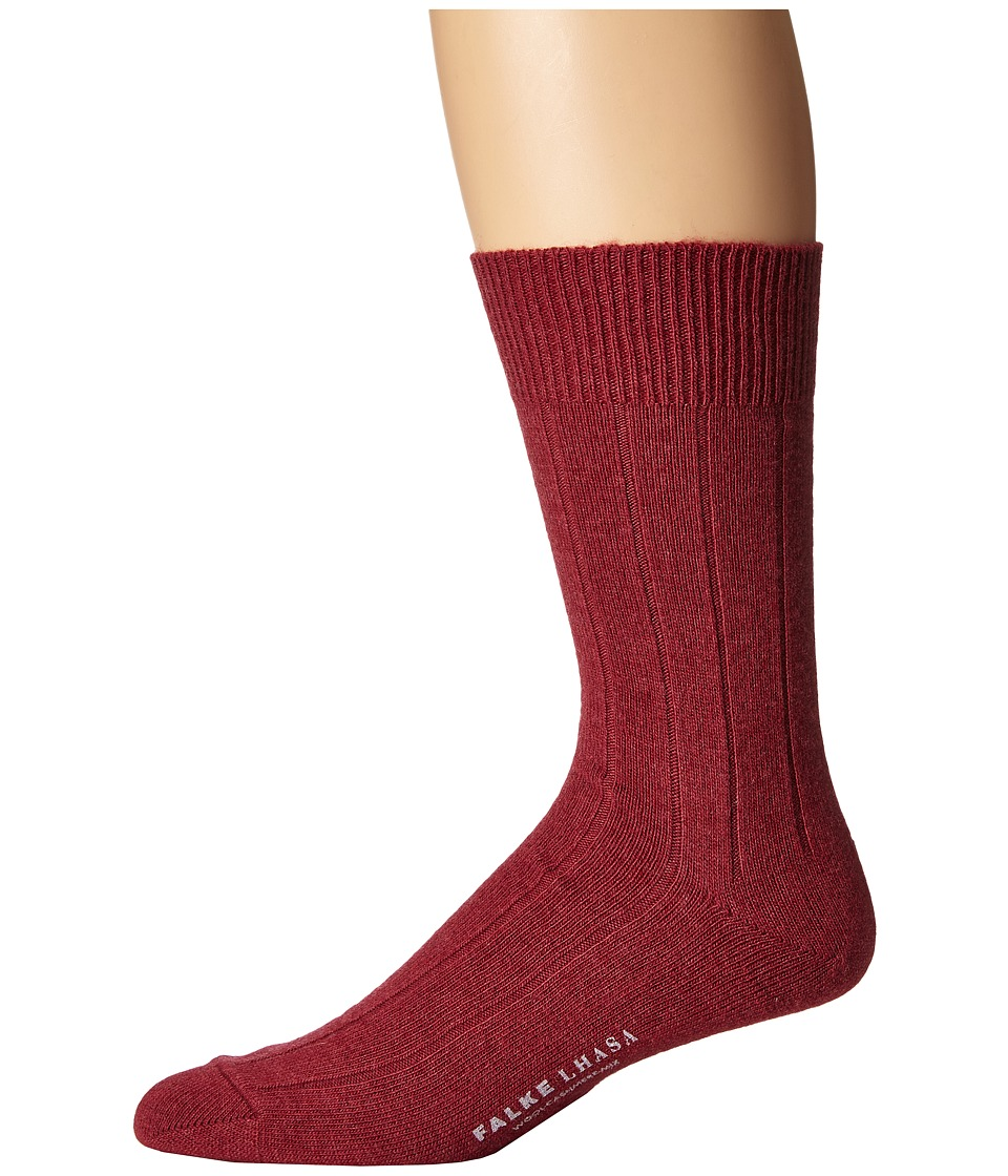 Falke - Lhasa Rib Sock (Garnet) Men's Crew Cut Socks Shoes
