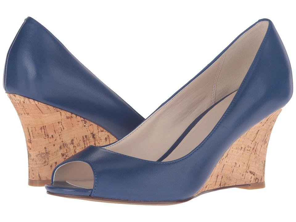Cole Haan - Lena Open Toe Wedge II (Twlight Blue/Cork) Women's Shoes