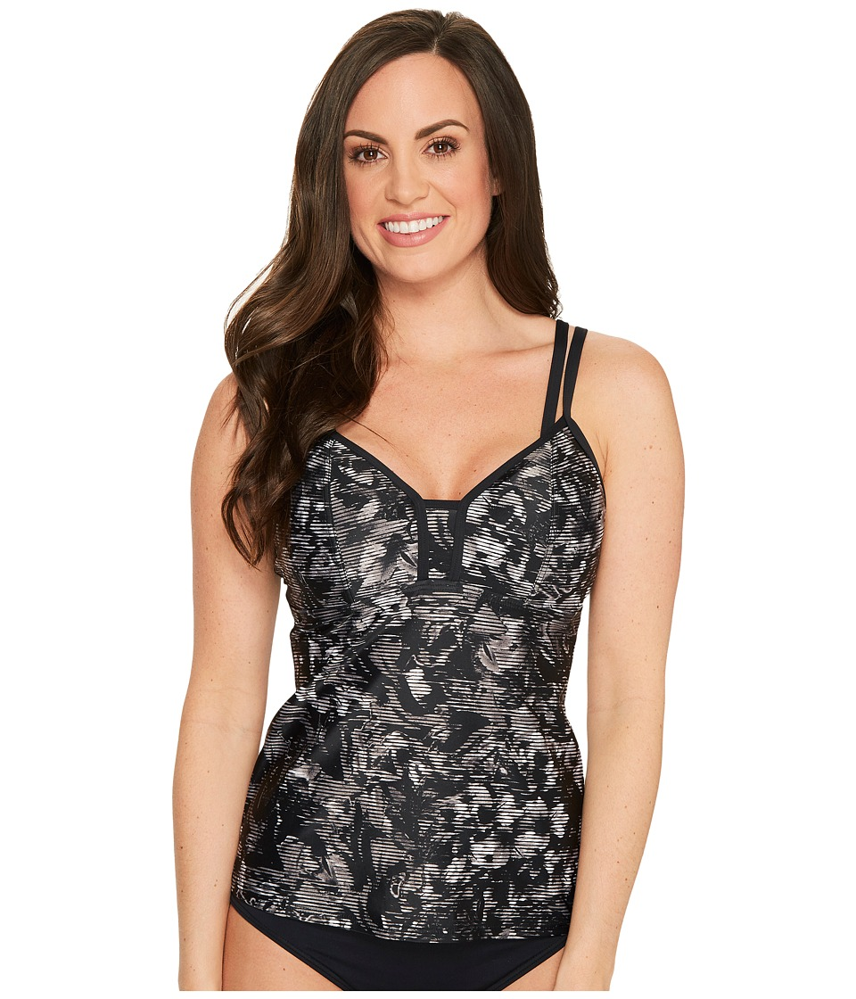 Lole Azura Tankini Top D-Cup (Black Digifleur) Women