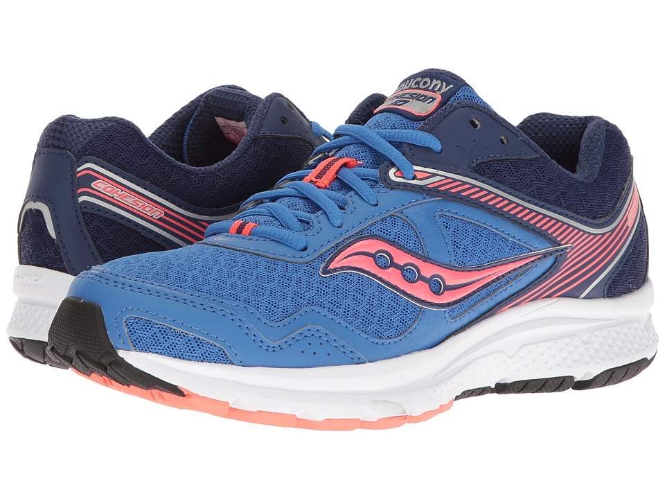 Saucony - Cohesion 10 (Blue/Coral) Women's Shoes