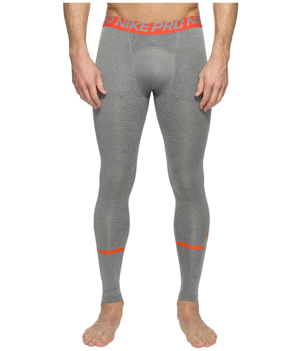 Nike - Pro Swoosh Compression Tight (Carbon Heather/Max Orange) Men's Casual Pants