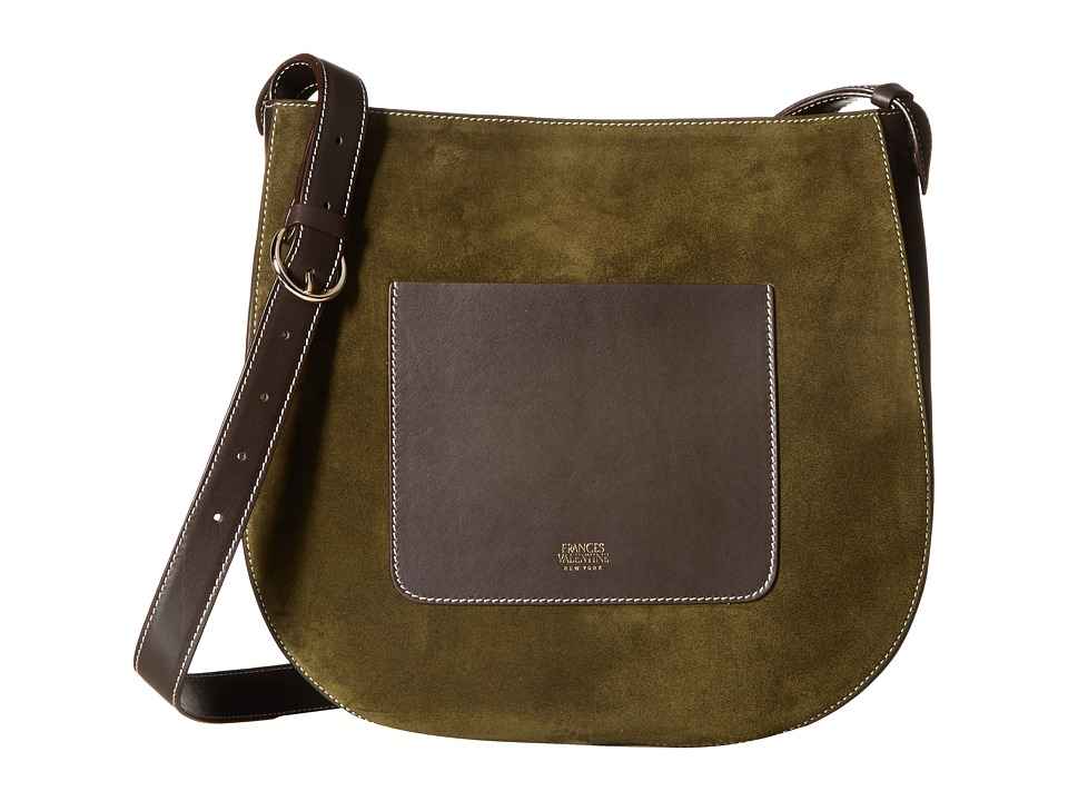 Frances Valentine - Large Ellen Suede Shoulder Satchel (Olive) Satchel Handbags