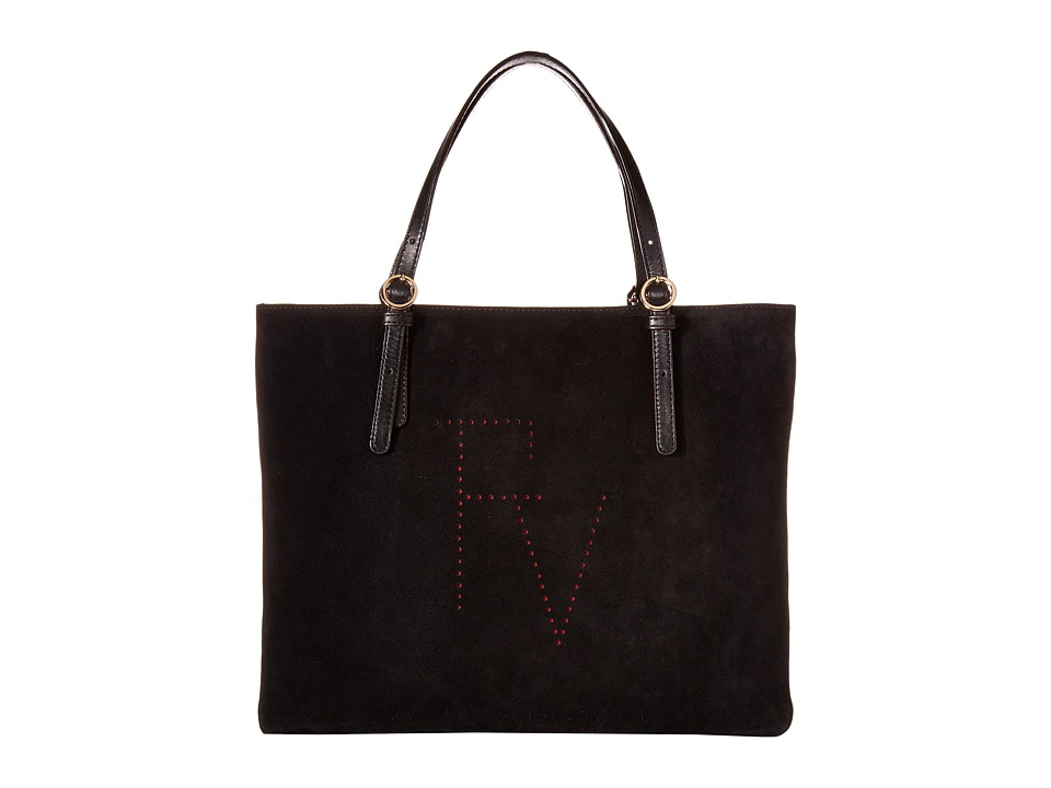 Frances Valentine - Perforated Suede Tote (Black) Tote Handbags