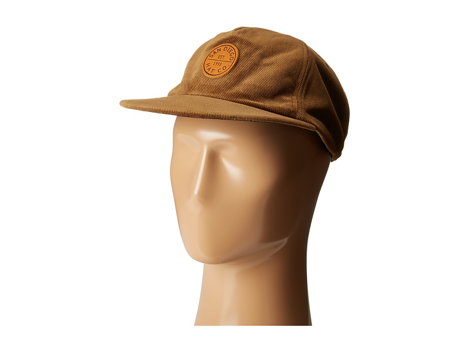 San Diego Hat Company - SDH3013 Corduroy Flat Bill Snapback Cap (Olive) Caps