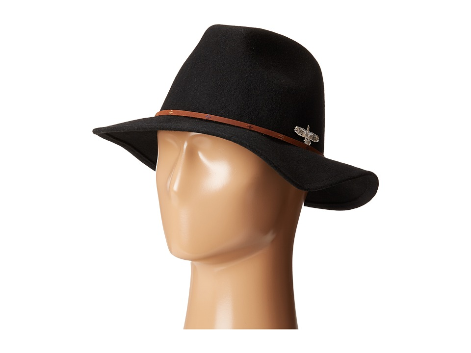 San Diego Hat Company - SDH3005 Pinched Crown Fedora Hat with Stitched Pattern (Black) Fedora Hats
