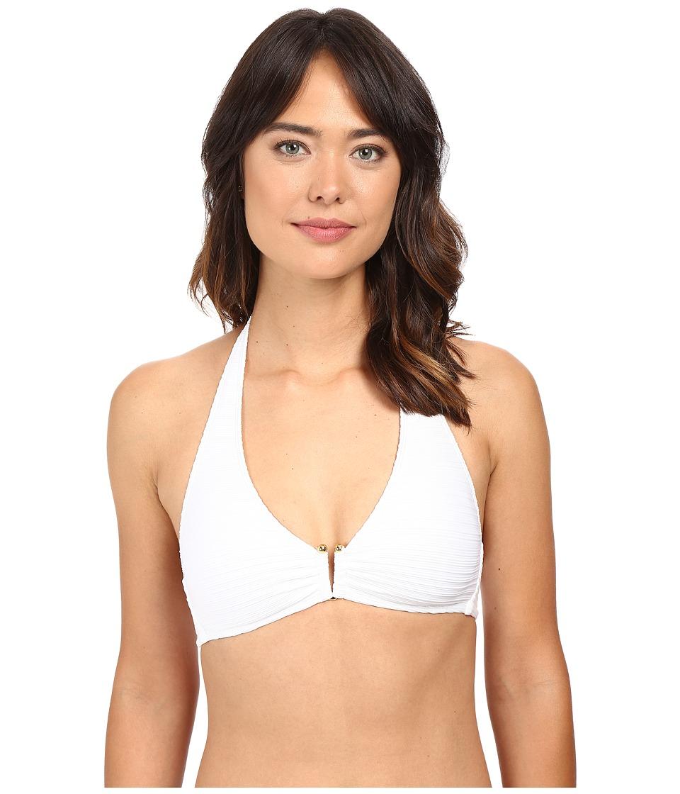 LAUREN Ralph Lauren - Variegated Ottoman Halter Bikini Top (White) Women's Swimwear